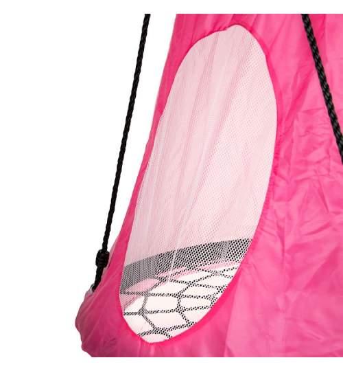 Husa tip Cort pentru Leagan de Gradina rotund tip Cuib, 120x100 cm, roz