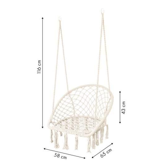 Leagan balansoar tip fotoliu suspendat pentru casa sau gradina, cu franjuri, 150kg, culoare alb