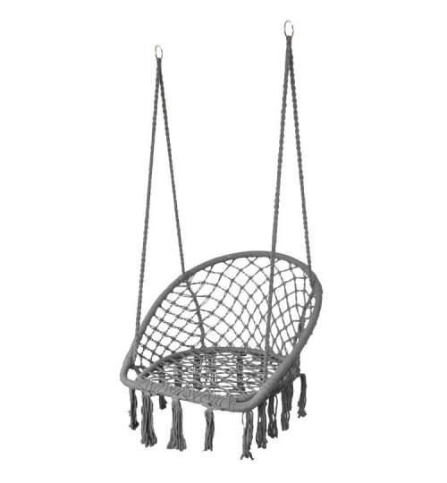 Leagan balansoar tip fotoliu suspendat pentru casa sau gradina, cu franjuri, 150kg, culoare gri