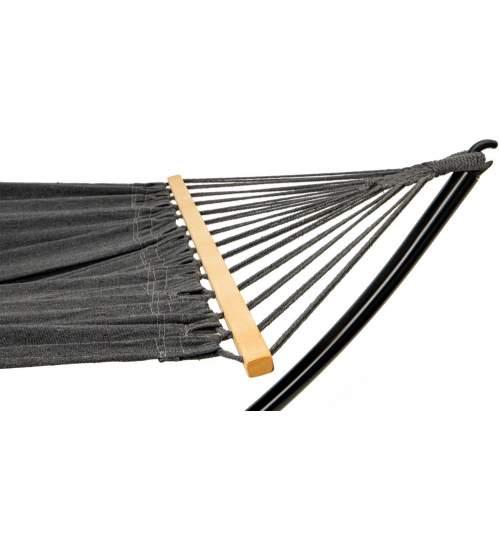 Hamac Clasic Single pentru Curte sau Gradina, cu Suport Metalic, 150kg, 190x110 cm, negru