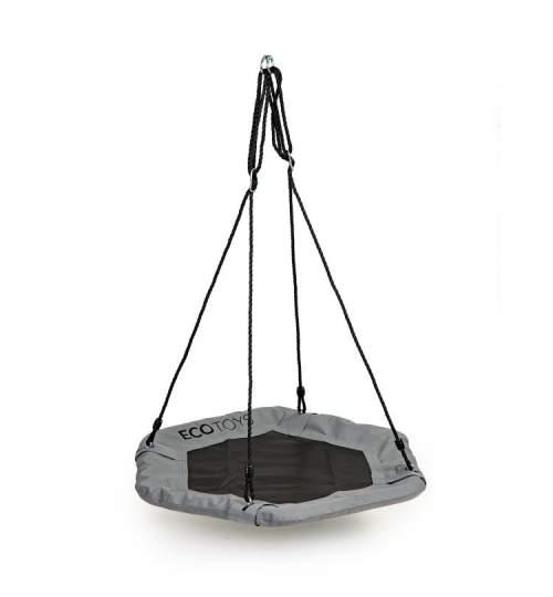 Leagan Balansoar hexagonal tip cuib pentru curte, terasa sau gradina, capacitate 100kg, 95cm, gri