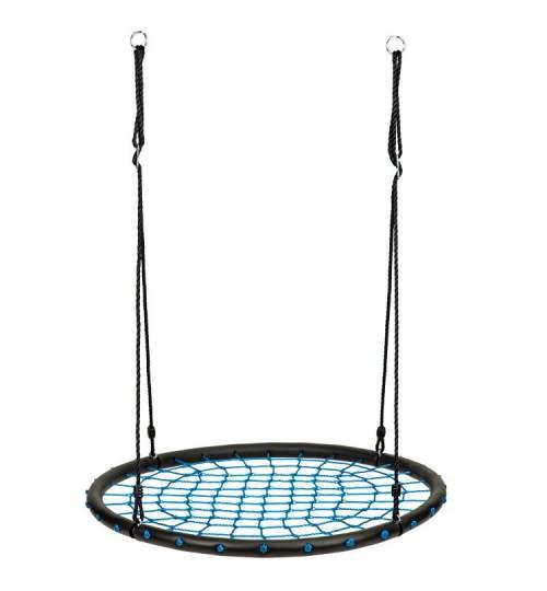 Leagan Balansoar rotund tip cuib pentru curte, gradina sau terasa, capacitate 100kg, 100cm, negru/albastru