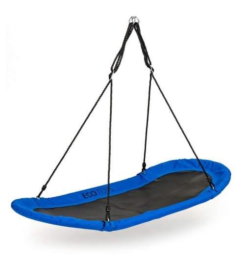 Leagan Balansoar suspendat tip cuib oval XXL pentru curte, terasa sau gradina, 100kg, albastru