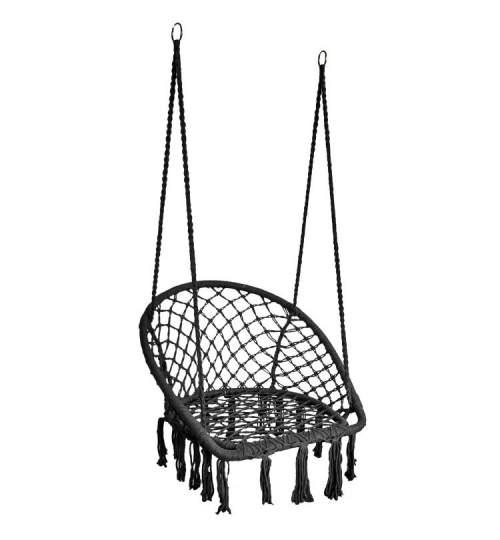 Leagan balansoar tip fotoliu suspendat pentru casa sau gradina, cu franjuri, 150kg, culoare negru