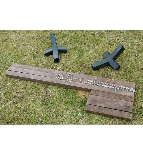 Suport Cadru din Lemn pentru Hamac, 360x85 cm, 120kg, maro inchis