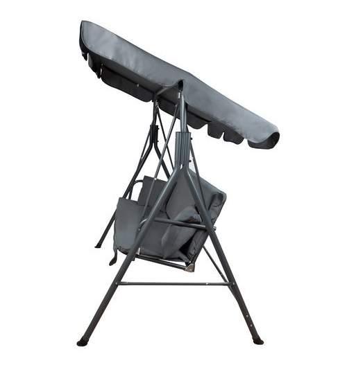 Leagan Balansoar cu Umbrela si 2 Perne, pentru Terasa sau Gradina, 3 locuri, 150x170x105 cm, gri