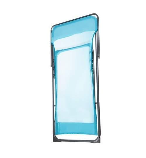 Scaun Pliabil tip Sezlong, pentru Terasa, Gradina sau Camping, cu Spatar Reglabil, 110kg, Albastru
