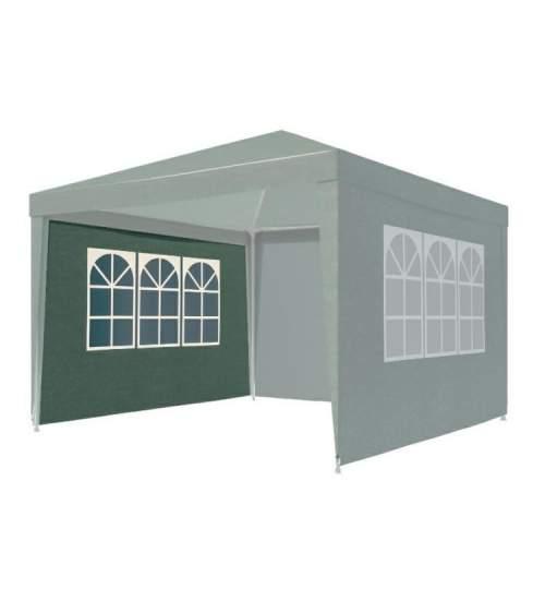 Perete lateral pentru Cort Pavilion de Gradina 3x3m, cu 3 ferestre, fixare Velcro, Verde