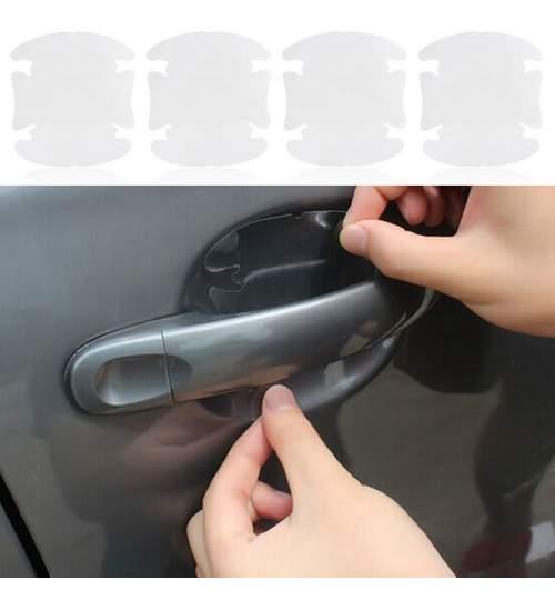 Autocolant Transparent pentru Protectie Zgarieturi Manere Usa - Set 4 bucati