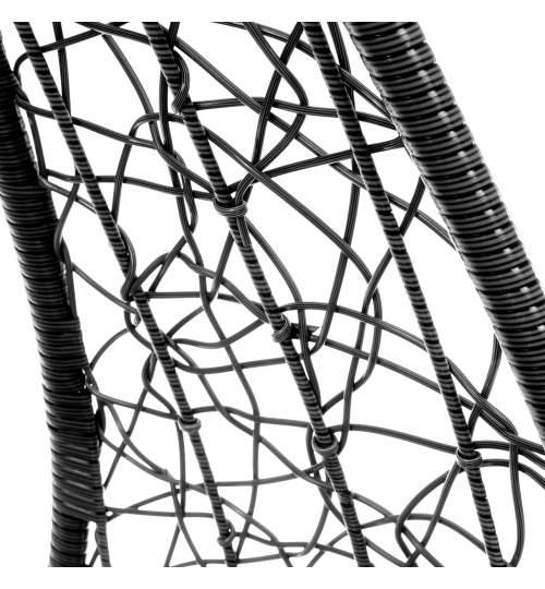 Leagan Madera tip Fotoliu suspendat pentru Terasa, Curte sau Gradina, cu Cadru Metalic si Perne, 150kg, Negru