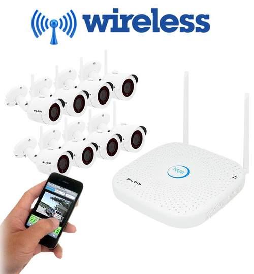 Kit Supraveghere Video IP Blow WI-FI cu 8 Camere de 1MP, NVR Wireless, Transmisie pe Internet, Wi-Fi, HD 720p