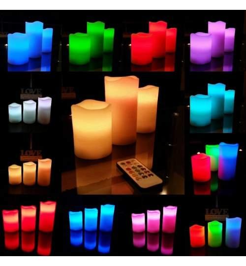 Set 3 Lumanari Decorative Iluminate cu LED Multicolor si Control din Telecomanda