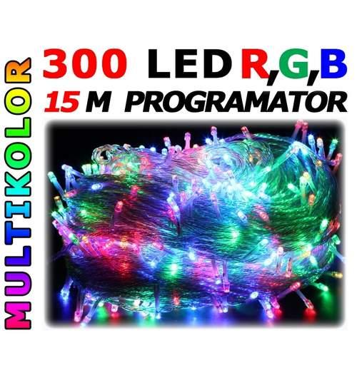 Instalatie pentru Craciun Multicolora, Lungime 15m, 300 Becuri LED, Interior si Exterior, 8 Moduri de Luminare