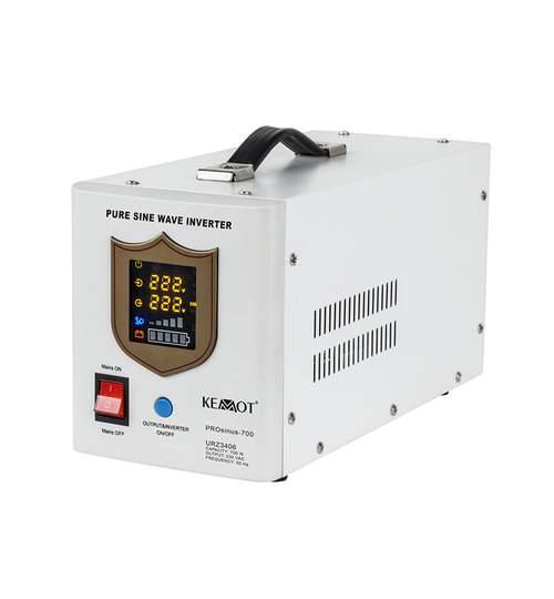 UPS pentru Centrale Termice Sinus Pur 700W 12V Kemot Util ProCasa, Culoare Alb