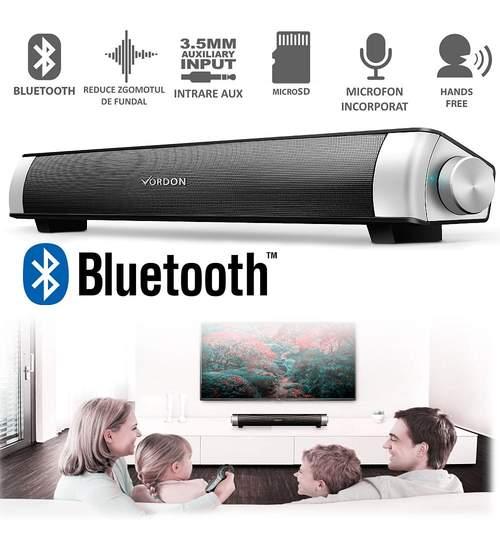 Boxa Bluetooth Soundbar Portabila, Microfon Incorporat, AUX, USB, MicroSD, Conectare fara Fir la PC, TV, Telefon HandsFree, Laptop, Vordon 2x5W Premium Silver
