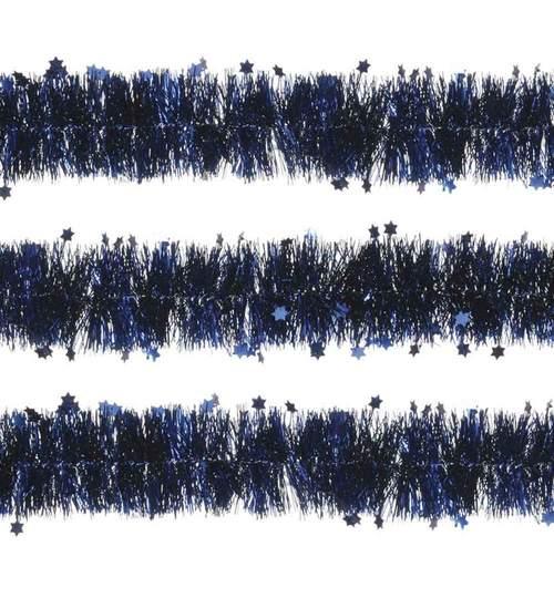 Beteala pentru Craciun, Lungime 12m, Culoare Albastru cu stelute , Diametru 10cm