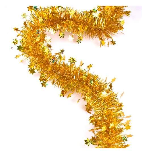 Beteala pentru Craciun, Lungime 12m, Culoare Auriu cu stelute , Diametru 10cm