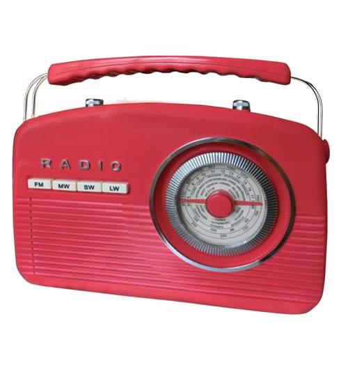 Aparat radio FM in stil retro, culoare Rosu