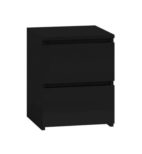 Noptiera cu 2 sertare, model Malwa M2, culoare negru mat