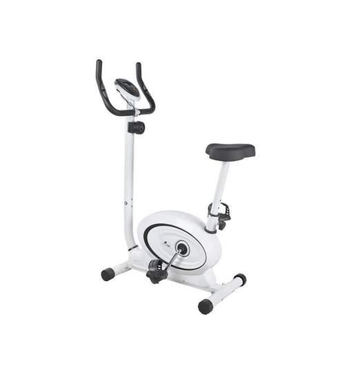 Bicicleta fitness model super-silentios cu afisaj LCD, capacitate 120 kg, inaltime 117cm, culoare Alb