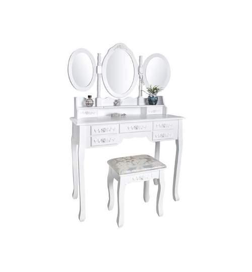 Set masa, masuta toaleta pentru machiaj cu 3 oglinzi reglabile, 7 sertare + scaun, dimensiuni 90x146x40cm, culoare Alb