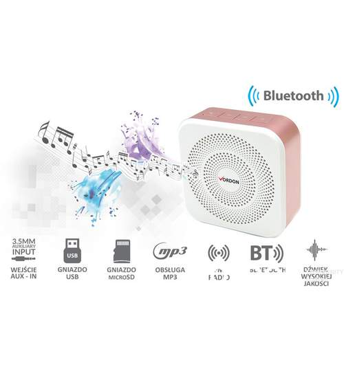 Difuzor / Boxa Audio Portabila cu Bluetooth, Radio FM, USB, microSD, AUX, Culoare Alb Rose, Vordon