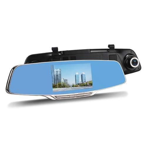 Pachet Oglinda Auto Retrovizoare cu Display 5 Inch, Camera Video Marsarier si Camera Video DVR Full HD 1080 Vordon pentru Inregistrare Trafic