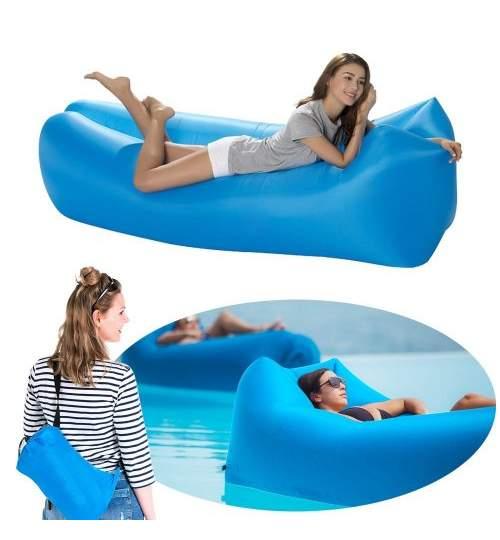 Saltea Gonflabila tip Sezlong Lazy Bag pentru Plaja sau Piscina, Umflare Rapida fara Pompa + Rucsac Depozitare, culoare albastru