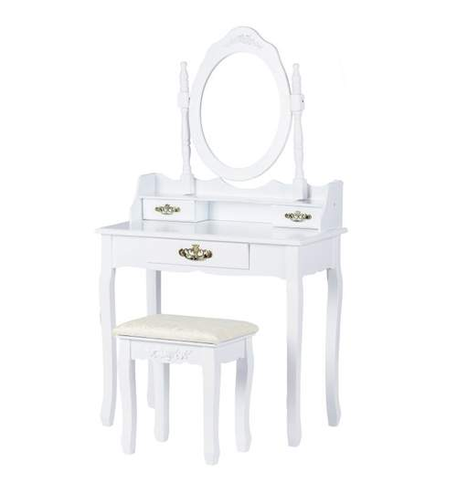 Set Masa Toaleta pentru Machiaj cu Oglinda Ovala si Sertare + Scaun, Stil Victorian, Culoare Alb