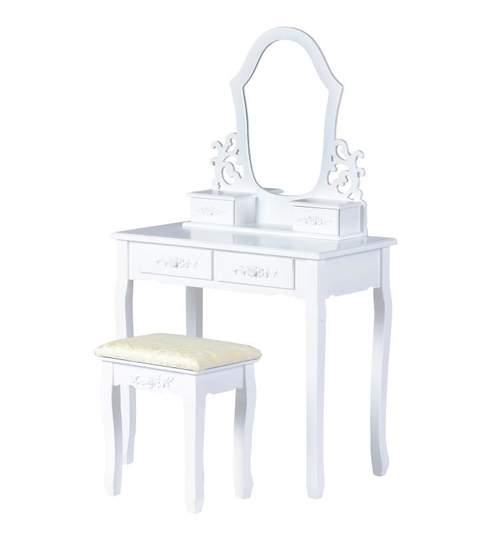Set Masa Toaleta pentru Machiaj cu Oglinda si Sertare + Scaun, Stil Victorian, Culoare Alb