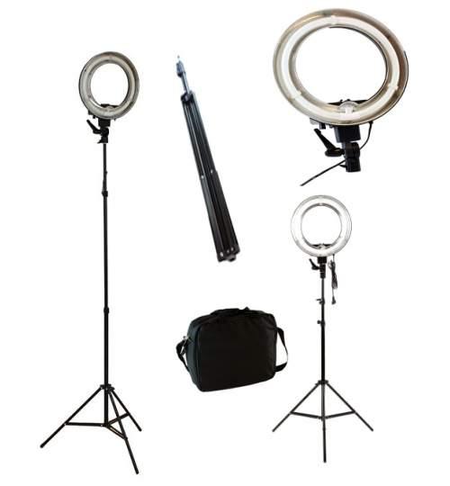 Proiector Lampa Rotunda pentru Studio Foto, Putere 40W, Lumina Alb Rece 5600k, Suport Trepied Reglabil