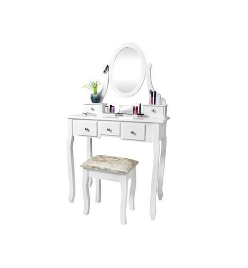 Set Masa Toaleta pentru Machiaj cu Oglinda Ovala si Sertare + Scaun, Culoare Alb