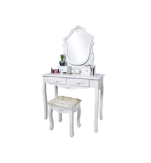 Set Masa Toaleta pentru Machiaj cu Oglinda Pivotanta si Sertare + Scaun, Culoare Alb