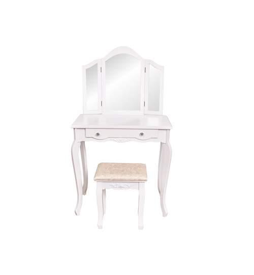 Set Masa Toaleta pentru Machiaj cu 3 Oglinzi Pliabile + Scaun, Stil Victorian, Culoare Alb