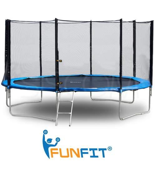 Trambulina FunFit pentru Copii si Adulti, Diametru 252cm 8FT, Scarita Inclusa, Capacitate 120kg, Plasa Laterala cu Fermoar