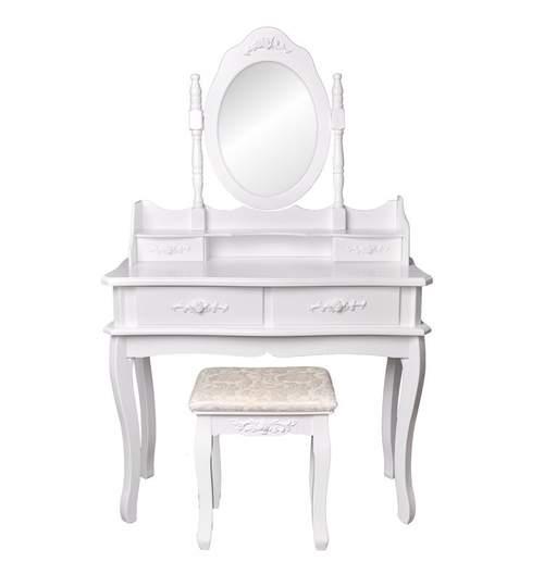 Set Masa Toaleta pentru Machiaj cu Oglinda Ovala Reglabila, 4 Sertare + Scaun, Culoare Alb
