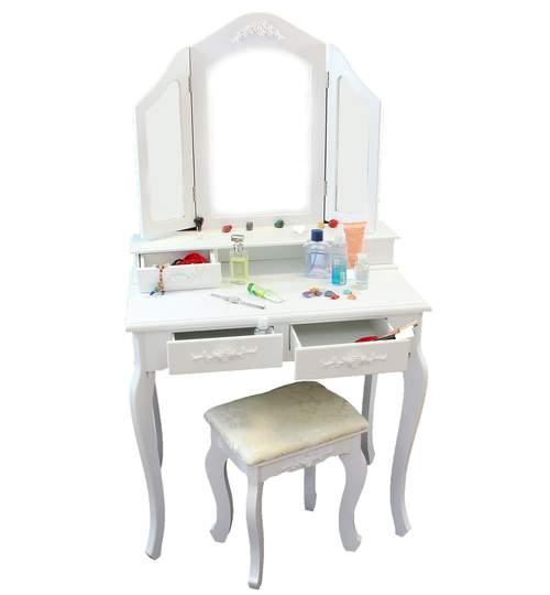 Set Masa Toaleta pentru Machiaj cu 3 Oglinzi Pliabile, 4 Sertare si Scaun, Culoare Alb