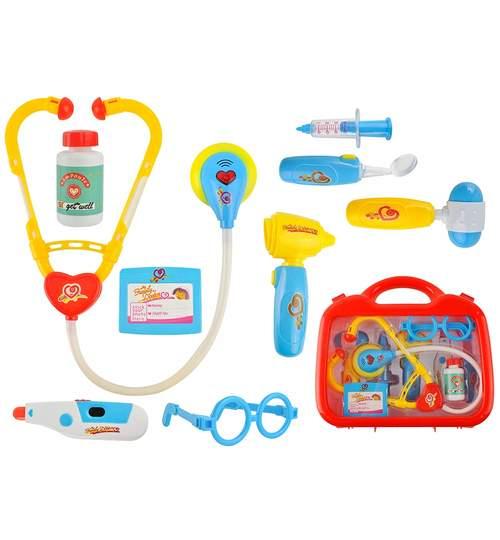 Trusa de medic doctor pentru copii, joc educational cu 10 elemente functionale