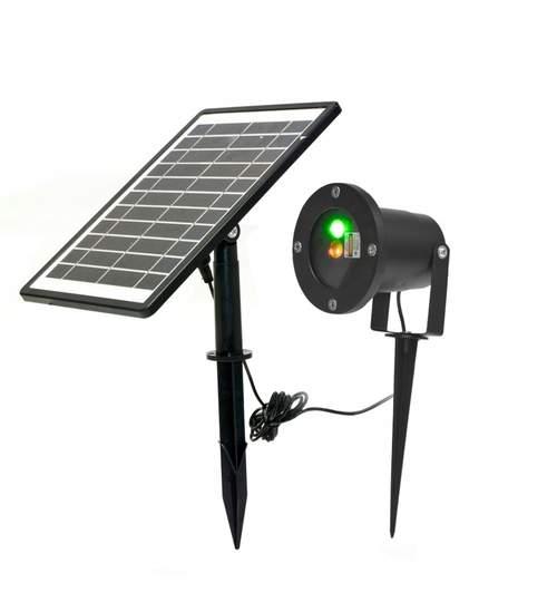 Proiector Laser LED Tip 3D Metal Interior/Exterior, Efecte de Lumini Miscatoare si Incarcare Solara