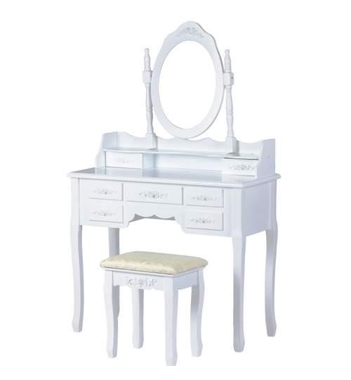 Set Masa Toaleta pentru Machiaj cu Oglinda Ovala Reglabila, 7 Sertare + Scaun, Culoare Alb