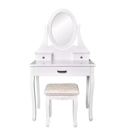 Set Masa Toaleta pentru Machiaj cu Oglinda Ovala si 3 Sertare + Scaun, Stil Victorian, Culoare Alb