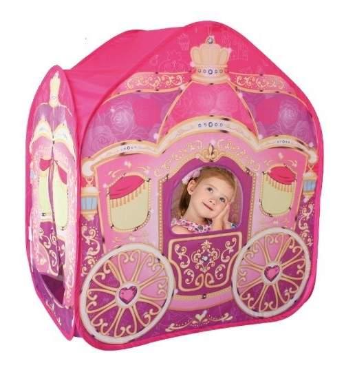Cort de Joaca pentru Copii tip Caleasca cu Printese, Exterior sau Interior, Culoare Roz