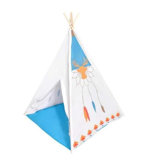 Cort de Joaca pentru Copii tip Coliba Indian, Exterior sau Interior, Culoare Alb/Albastru