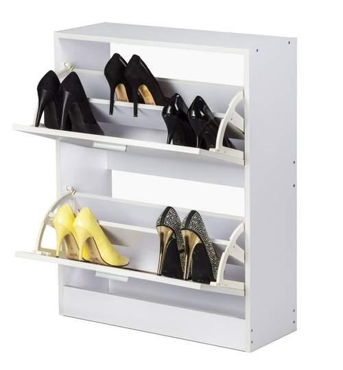 Dulap Pantofar cu 2 Sertare pentru Depozitare Incaltaminte, Dimensiuni 81x63cm, Culoare Alb