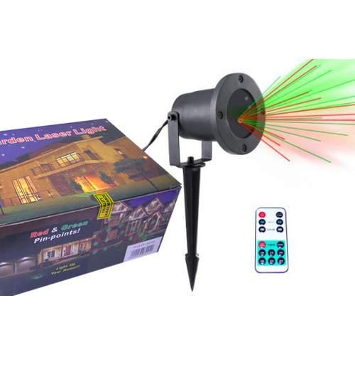 Proiector Laser LED Tip Star Shower 3D Interior/Exterior, Efecte de Lumini Miscatoare si Telecomanda