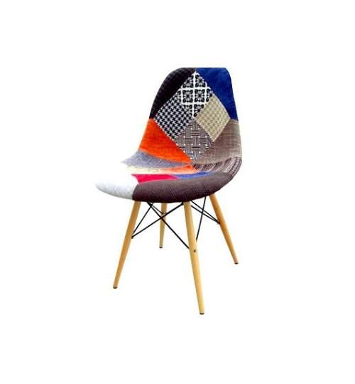 Scaun Retro in Stil Elegant, Tapitat, Multicolor pentru Living, Salon sau Bucatarii