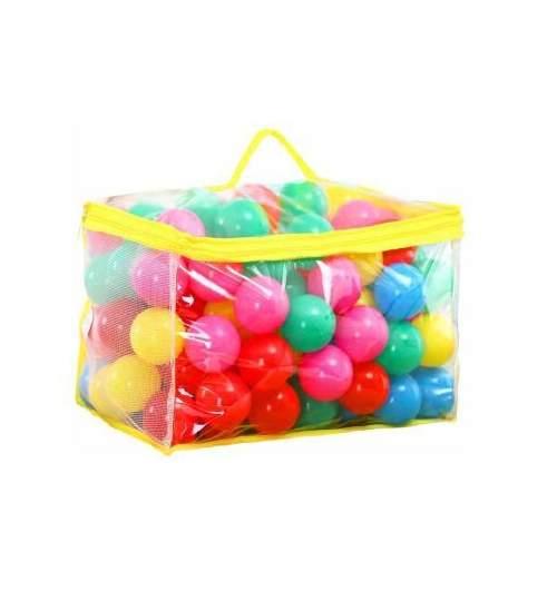 Set 100 de Bile Multicolore din Plastic pentru Joaca Copii, Diametru 6cm