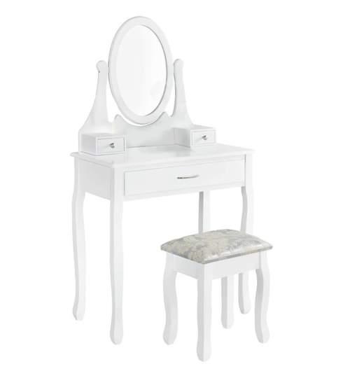 Set Masa Eleganta Toaleta pentru Machiaj cu Oglinda Ovala, 3 Sertare si Scaun Tapitat, Culoare Alb