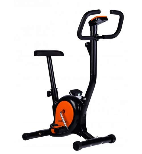Bicicleta pentru Fitness Reglabila cu Afisaj LCD Diferite Valori, Capacitate 120kg, Culoare Negru/Portocaliu