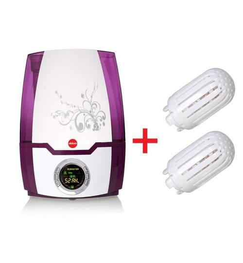 Set Umidificator de Aer Ultrasonic Foggy + 2 Filtre Ceramice pentru Camera 20mp, Putere 30W, Randament 30ml/h, Afisaj Digital, Functie de Ionizare, Control Digital, Capacitate 5.2L